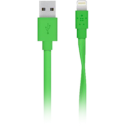 Belkin MIXIT Flat Lightning to USB Type-A Male Cable (4', Green, Brown Box Packaging)