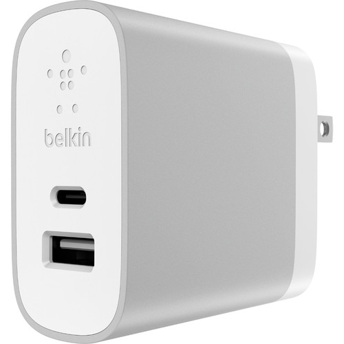 Belkin USB Type-C and USB Type-A Home Wall Charger (Silver)