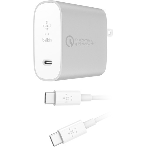 Belkin BOOST UP CHARGE 27W USB Type-C Wall Charger with 4' Cable (Silver)