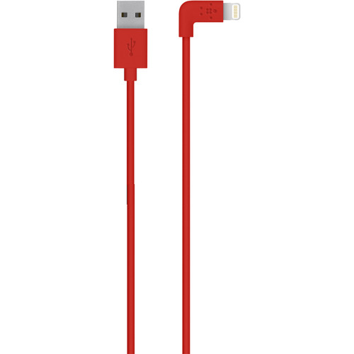 Belkin MIXIT 90-Degree Lightning to USB Cable (4', Red)