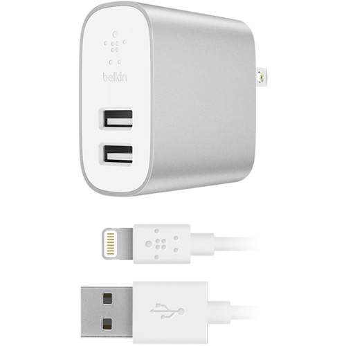 Belkin BOOST UP CHARGE 24W Dual Port Wall Charger & Lightning Cable (Silver)