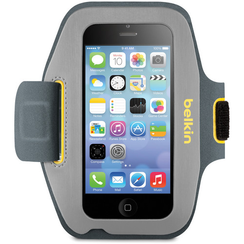 Belkin Sport-Fit Armband for iPhone 5/5s/5c/SE, 5th Generation iPod Touch (Gravel/Citrus)