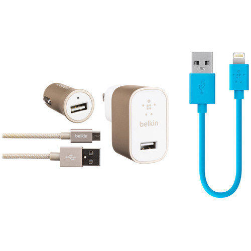 Belkin Home and Car USB Chargers (Gold) with MIXIT Lightning Cable Kit (Blue)
