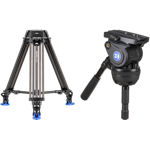 Benro BV10H Video Head with Carbon Fiber Legs Kit with Half Ball Adapter
