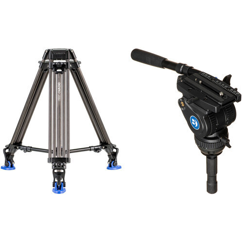 Benro BV8H Video Head with Carbon Fiber Legs Kit with Half Ball Adapter
