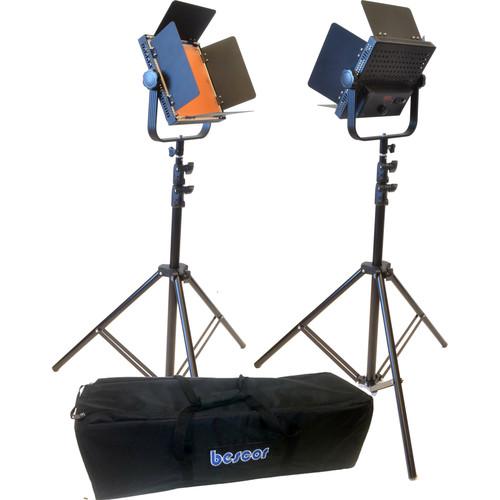 Bescor AL-576K LED Studio 2-Light Kit with V-Mount