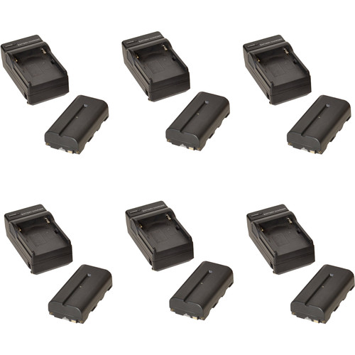 Bescor 2200mAh 7.4V NP-F Battery and Charger Kit (6-Pack)