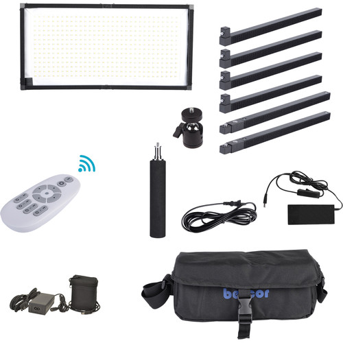 Bescor FM448 Flexible Bi-Color LED Light Mat with Swivel Ball Mount and Battery