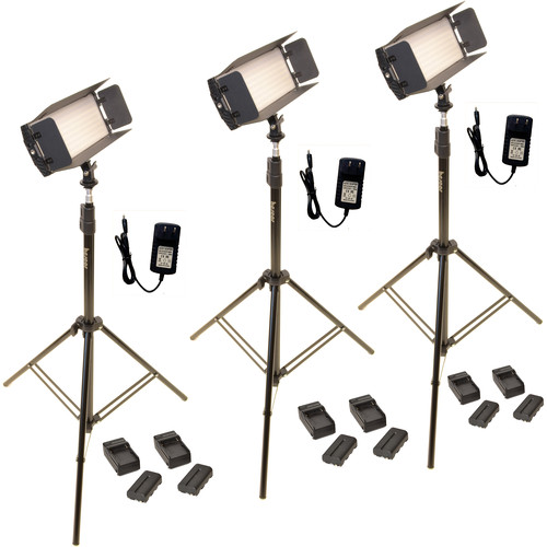 Bescor FP-312T 3-Point LED Light Kit with Light Stands