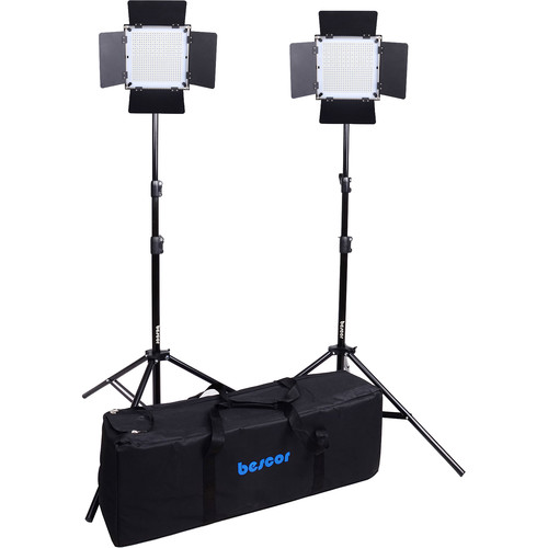 Bescor FP-576K Bi-Color Wireless Control LED Studio 2-Light Kit