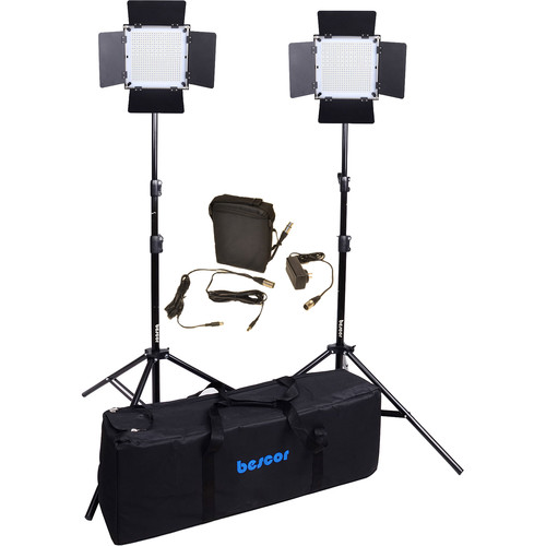 Bescor FP-576K Bi-Color Wireless Control LED Studio 2-Light Kit with Battery