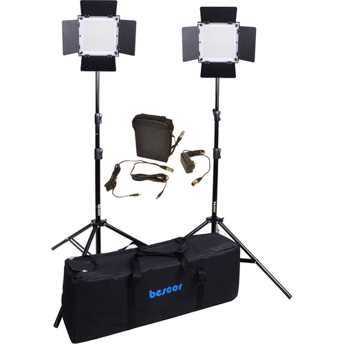 Bescor FP-900 Bi-Color LED Wirelessly Controlled 2-Light Kit with Battery