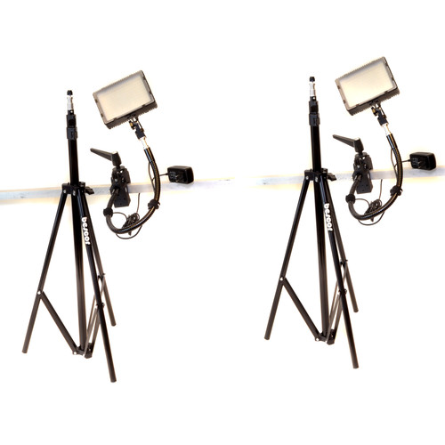 Bescor Grip-182K Gripper Gooseneck Bi-Color 2-Light Kit with Light Stands