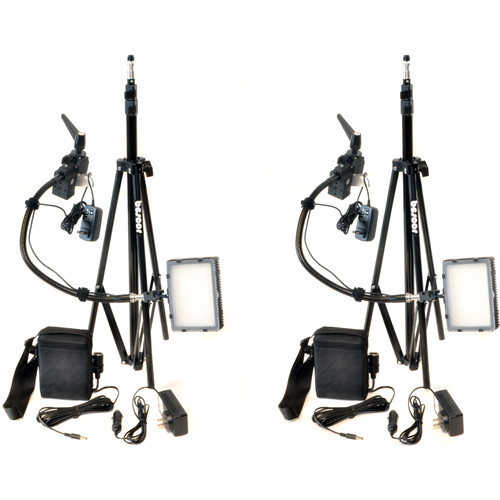 Bescor Grip-182KB Gripper Gooseneck Bi-Color 2-Light Kit with Batteries and Light Stands