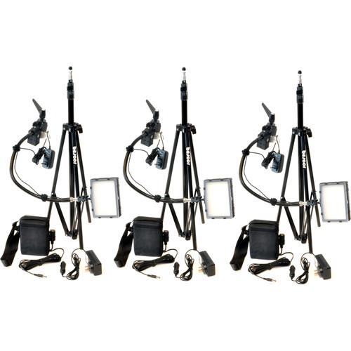 Bescor Grip-183KB Gripper Gooseneck Bi-Color 3-Light Kit with Batteries and Light Stands