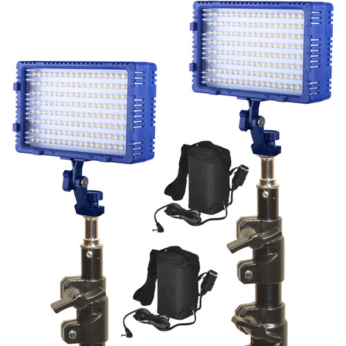 Bescor Dual LED144 Studio Kit with Stands and Batteries