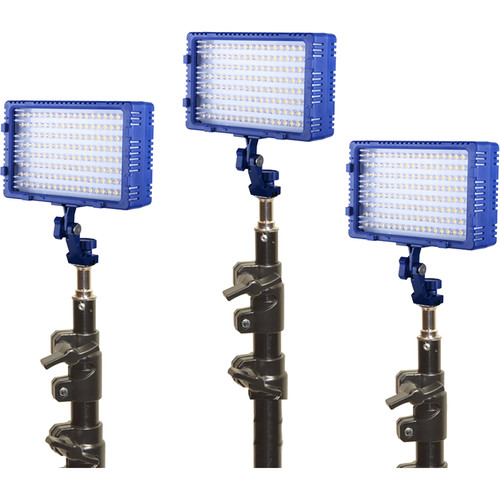 Bescor Triple LED144 Studio Kit with Stands