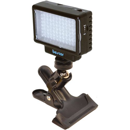 Bescor LED-70 On-Camera Video Light with Swivel Ball Head Mounting Clamp