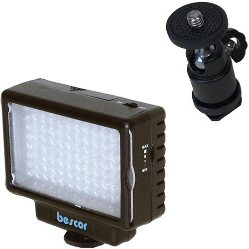Bescor LED-70 Dimmable 70W On-Camera LED Light Kit with Ball Head Mount