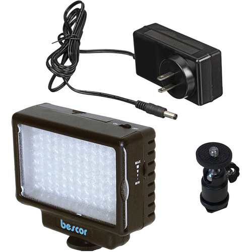 Bescor LED-70 Dimmable 70W On-Camera LED Light Kit with Ball Head Mount and AC Adapter