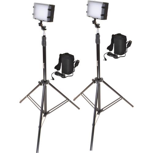 Bescor LED-125 Daylight Studio 2-Light Battery Kit