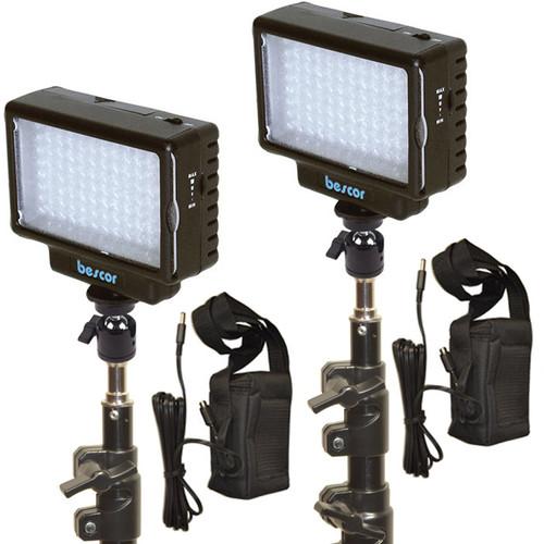 Bescor LED-70 Daylight Studio 2-Light Battery Kit