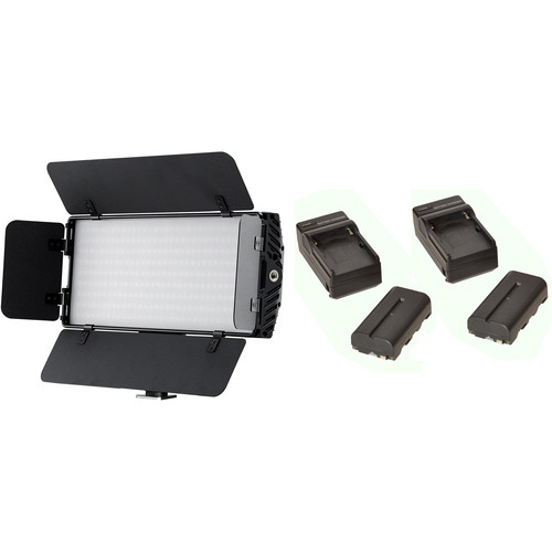 Bescor Photon Bi-Color On-Camera LED Light with Dual NPF Battery & Charger Kit