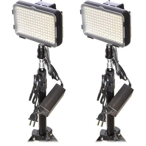 Bescor XT160 Bi-Color LED On-Camera 2-Light Kit with Stands and AC Adapters