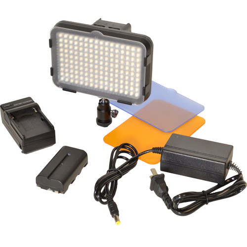 Bescor XT160 Bi-Color LED On-Camera Light with Battery, Charger & AC Adapter