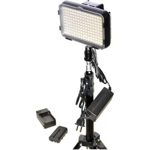 Bescor XT160 Bi-Color LED On-Camera 1-Light Kit with Stands and Battery