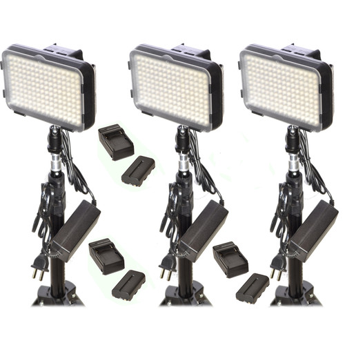 Bescor XT160 Bi-Color LED On-Camera 3-Light Kit with Stands and Batteries