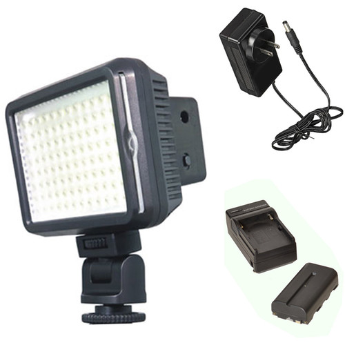 Bescor XT96 On-Camera Light Kit with Battery, Charger, and AC Adapter