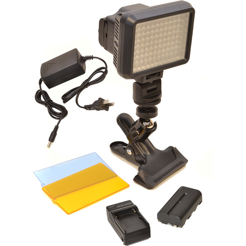 Bescor XT96 On-Camera Light Kit with Battery, Charger, AC Adapter, and Clamp