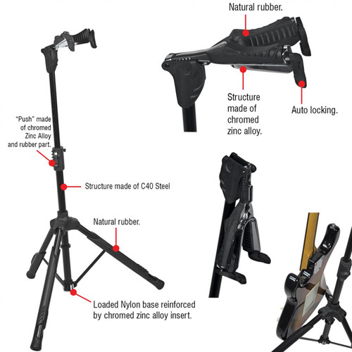 Bespeco KG10 Universal Tripod Guitar Stand with Auto-Grip Yoke