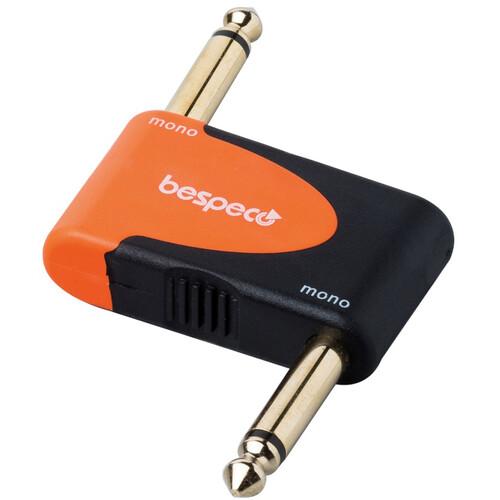 """Bespeco Right Angle 1/4"""" Mono Male to Right Angle 1/4"""" Mono Male Adapter (Black/Orange)"""