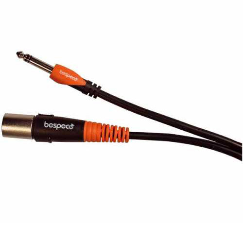 "Bespeco XLR Male to 1/4"" Stereo Jack Cable for Professional Active Speakers (Black/Orange, 3.3')"
