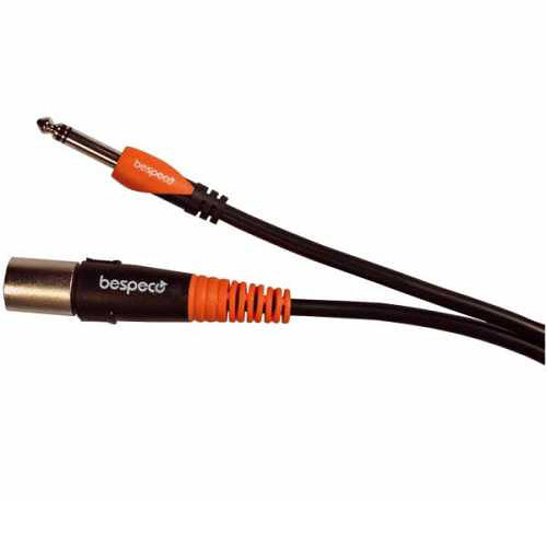 """Bespeco XLR Male to 1/4"""" Stereo Jack Cable for Professional Active Speakers (Black/Orange, 30')"""