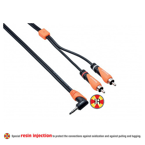 Bespeco SILOS Series Right-Angle 3.5mm Stereo Jack to Dual RCA Male Interlink Y-Cable (9.8', Black/Orange)