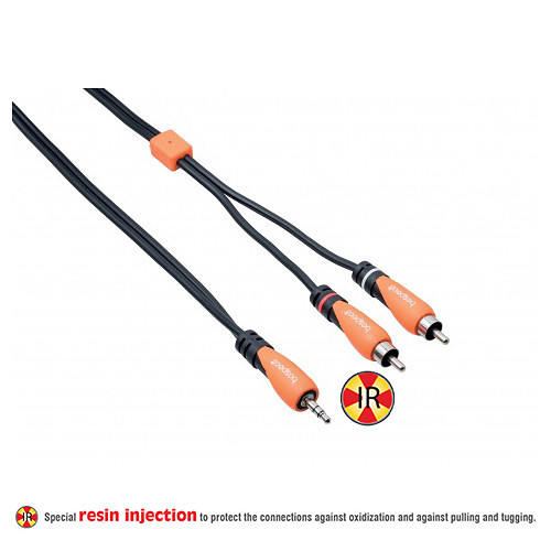 Bespeco 3.5mm Stereo Jack to 2 RCA Male Interlink Cable (Black/Orange, 9.8')