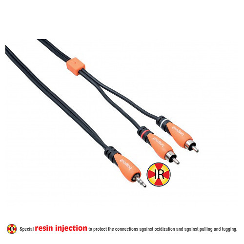 Bespeco SILOS Series 3.5mm Stereo Jack to Dual RCA Male Interlink Y-Cable (16.4', Black/Orange)