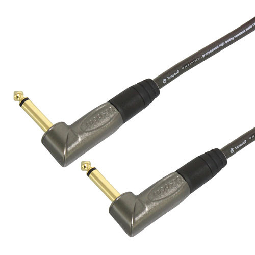 "Bespeco TITANIUM TECH Series 1/4"" to 1/4"" Instrument and Pedal Cable (0.5', Right Angle/Right Angle)"