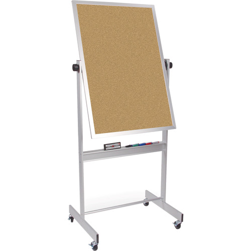 "Best Rite Deluxe Mobile Reversible Board (Porcelain Steel / Natural Cork, 40 x 30"")"