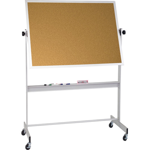 Best Rite Deluxe Mobile Reversible Board (Porcelain Steel / Natural Cork, 4 x 5')