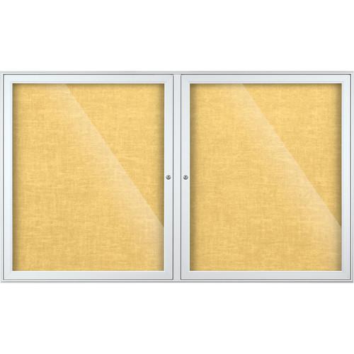 Best Rite Indoor Enclosed Two-Door Bulletin Board Cabinet (3x5', Yellow Bouquet Vinyl)