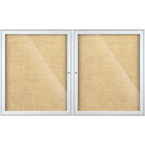 Best Rite Indoor Enclosed Two-Door Bulletin Board Cabinet (3x5', Champagne Vinyl)