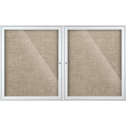 Best Rite Indoor Enclosed Two-Door Bulletin Board Cabinet (3x5', Gray Vinyl)