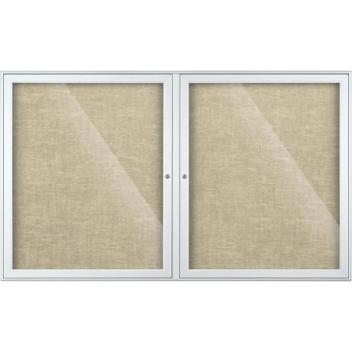 Best Rite Indoor Enclosed Two-Door Bulletin Board Cabinet (3x5', Antique White Vinyl)
