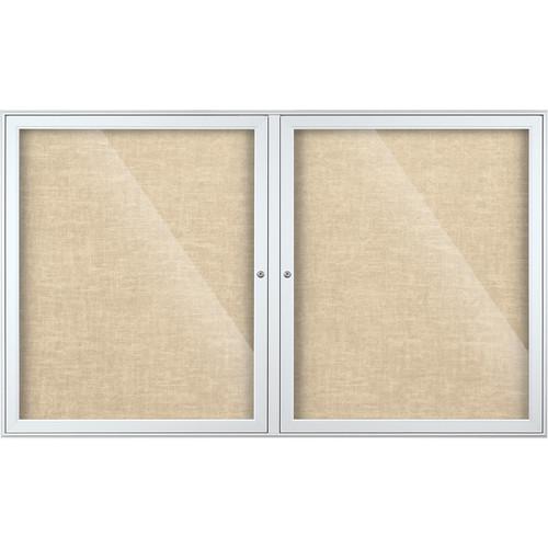 Best Rite Indoor Enclosed Two-Door Bulletin Board Cabinet (3x5', Cotton Vinyl)