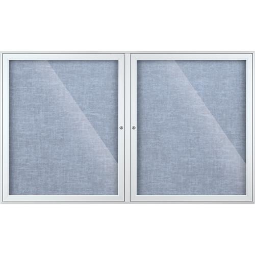 Best Rite Indoor Enclosed Two-Door Bulletin Board Cabinet (3x5', Pacific Blue Vinyl)