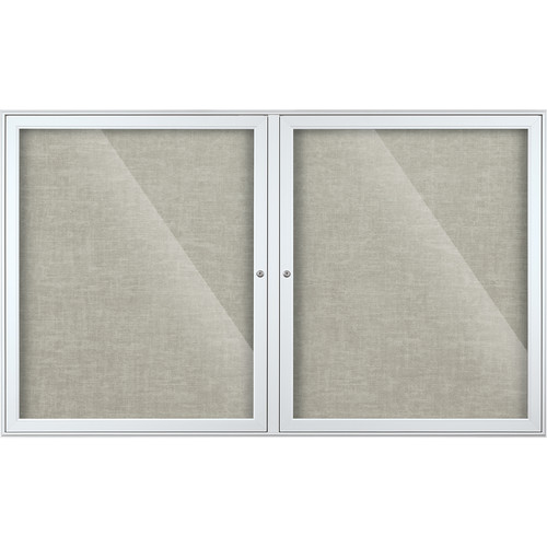 Best Rite Indoor Enclosed Two-Door Bulletin Board Cabinet (3x5', Platinum Vinyl)